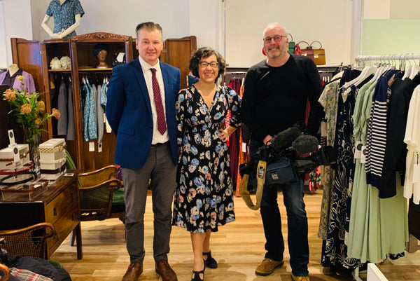 Chris Choi interviews small business owner Rowena Howie Revival Retro for ITV news