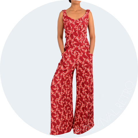 Riviera Jumpsuit Red Art Deco