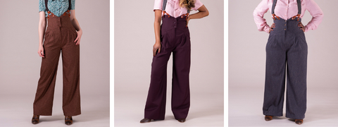 Three images of high waist 1940s style trousers in cinnamon, plum and grey