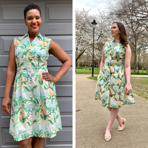 Two women in floral dresses