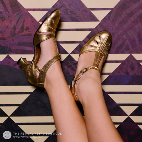 ReMix Vintage Shoes Balboa in Gold - Revival Retro Boutique