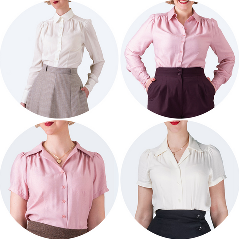 Two long sleeved shirts and two short sleeved blouses, each with one in pink and one in cream, shown in circular images.