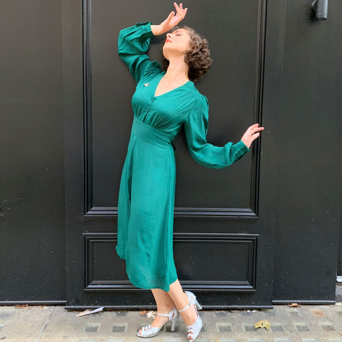 Ava long sleeve green dress