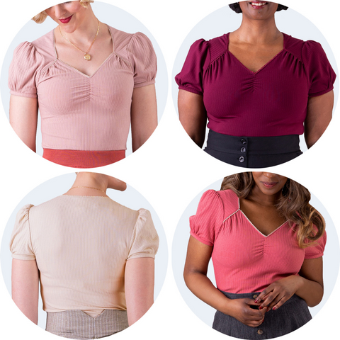 Four sweetheart neckline tops in Rose, Burgundy, Antique White (shown from behind) and Peach