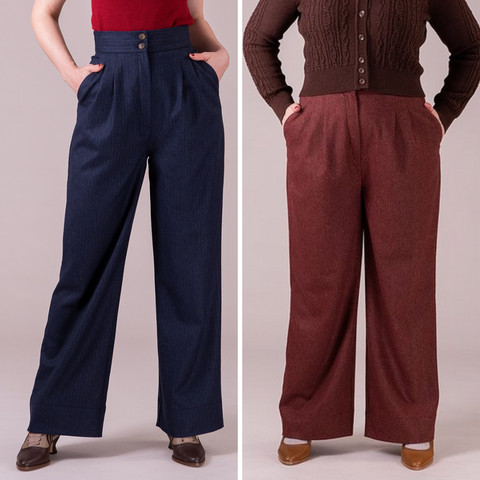 Trousers modelled from waist down in navy and rust