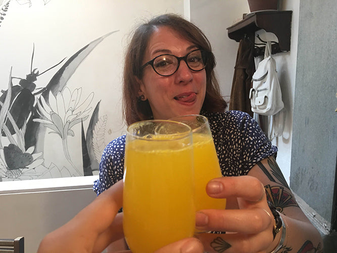 celebrating with mimosas