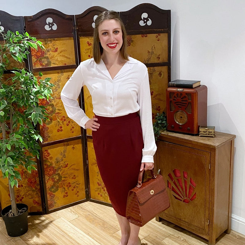 curvy pencil skirt in burgundy crepe