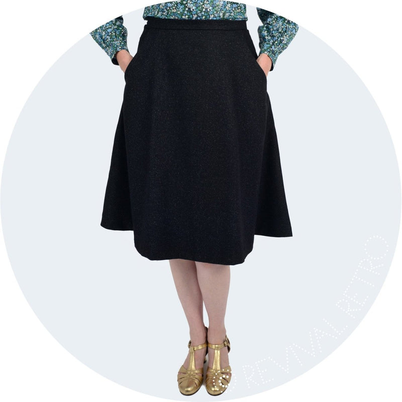 A-line skirt in lightweight wool made in Britain