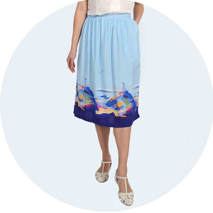 Becky Bettesworth Anglesey Print viscose skirt made in Britain