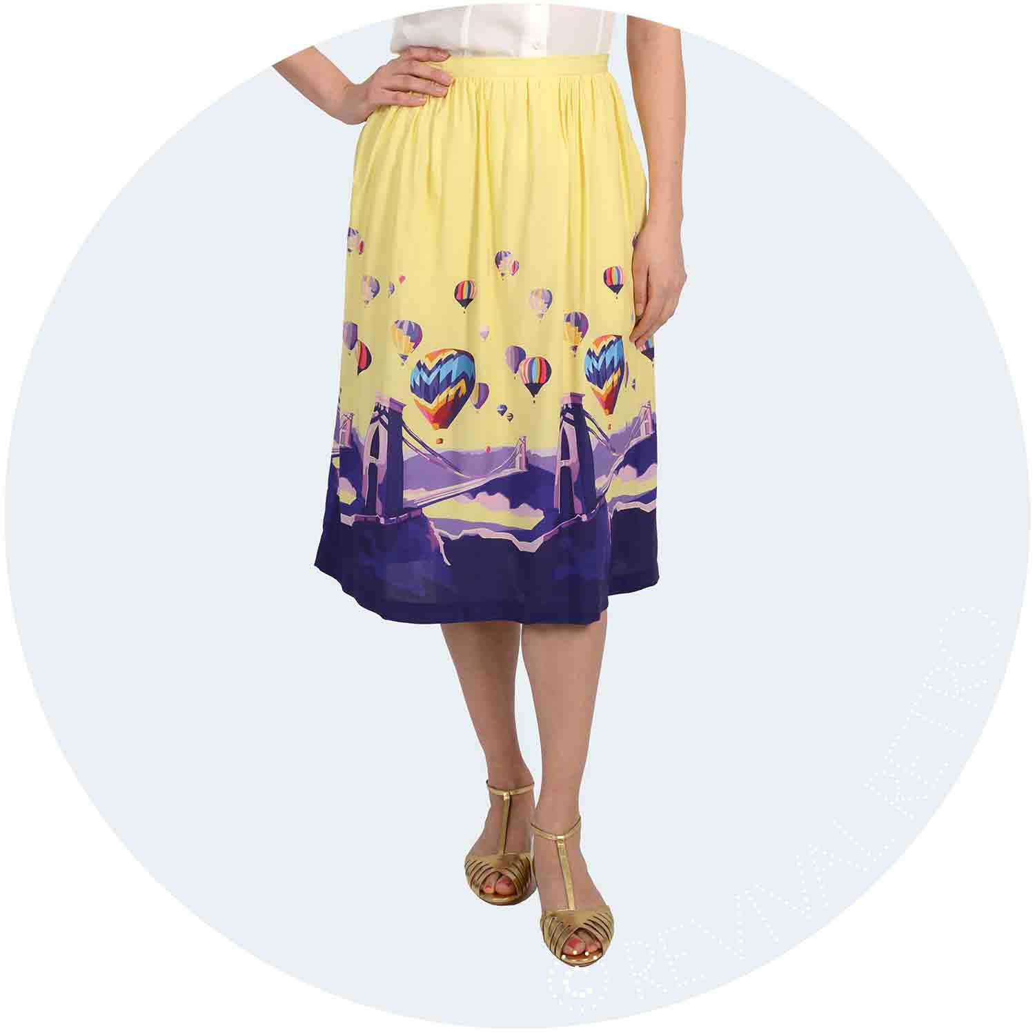Becky Bettesworth Bristol Print viscose skirt made in Britain