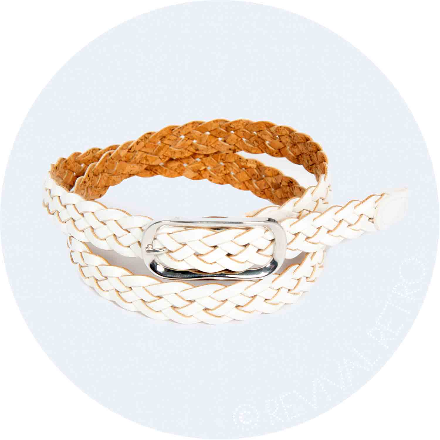 Braided Leather Belt | Glossy White