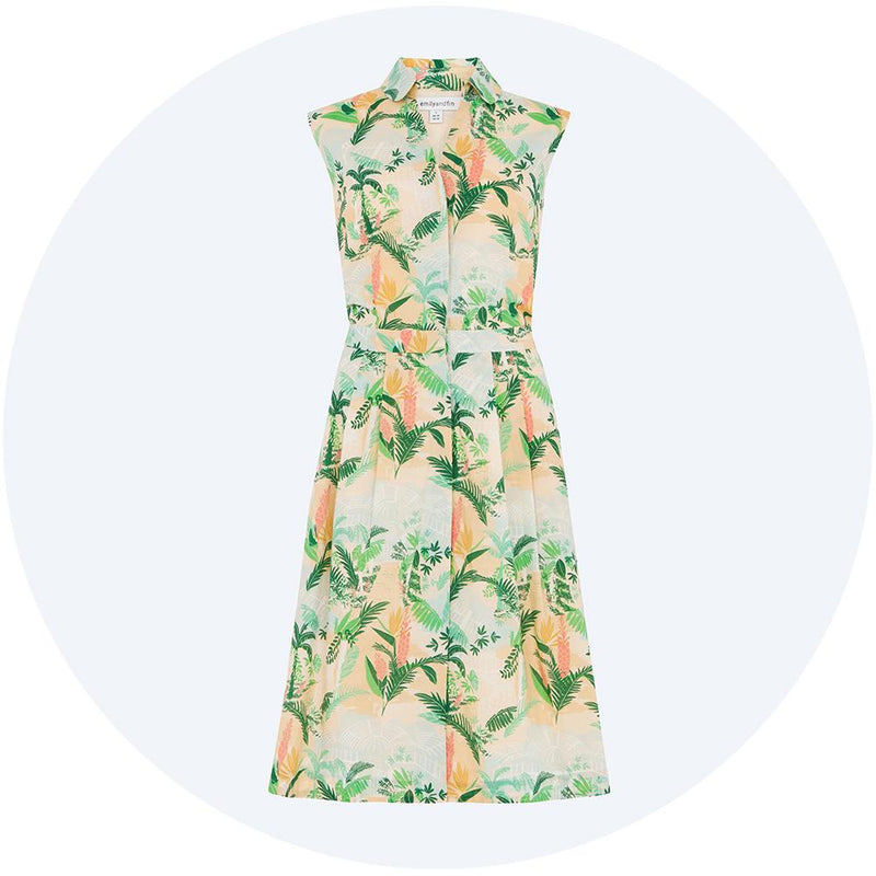 Botanical print sleeveless dress, Clara from Emily & Fin
