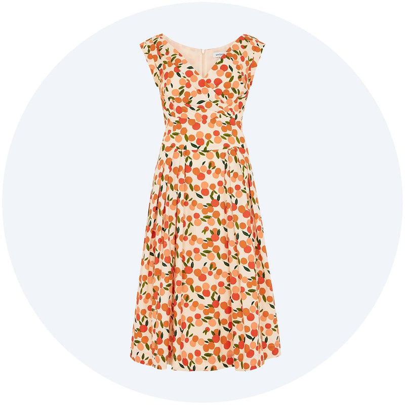 V-neck dress with orange print, Florence from Emily & Fin