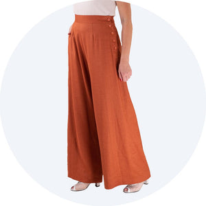 Cinnamon Linen Trousers Palazzo Pants Emmy Design