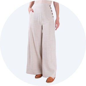 Cream Linen Trousers Palazzo Pants Emmy Design