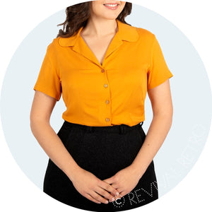 Short sleeve mustard blouse