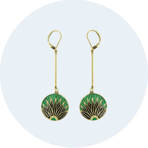 Art Deco Leaf Drop Earring