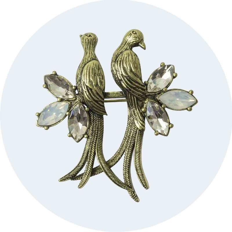 Love Bird and Crystal Brooch