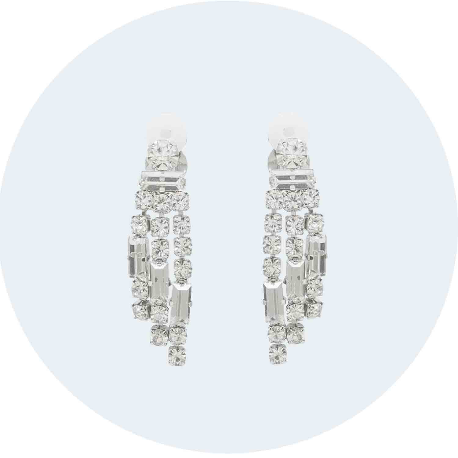 Clip on Earrings | Tiered Crystal