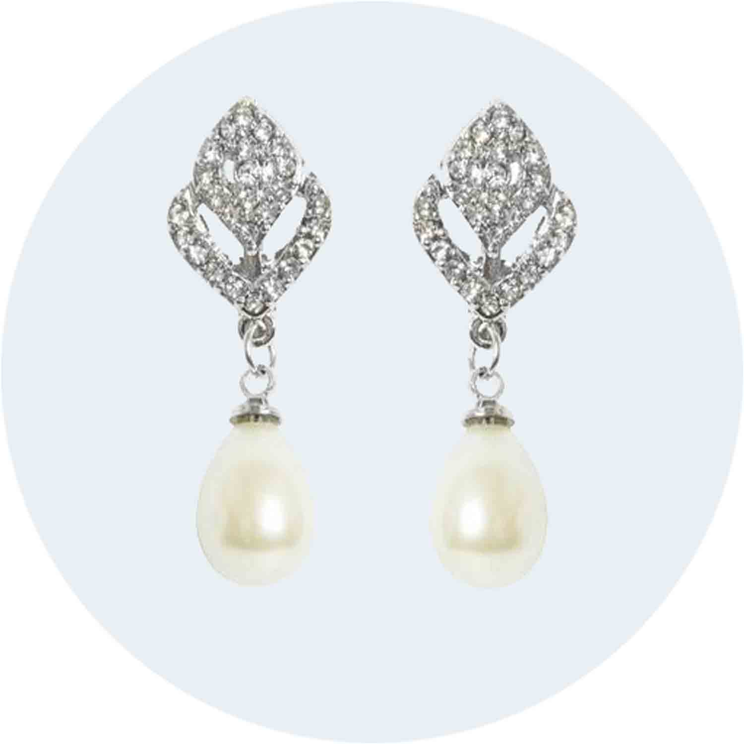 Tulip Pearl Drop Earring with Diamante