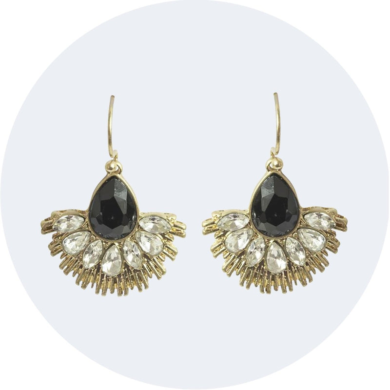 Crystal Fan Earring