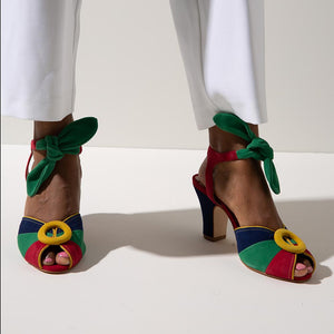 Lorena from Miss L Fire. Multi coloured peep toe heel with tie fastening around ankle, modelled on black feet.