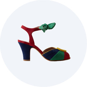 Lorena from Miss L Fire. Multi coloured peep toe heel with tie fastening around ankle.