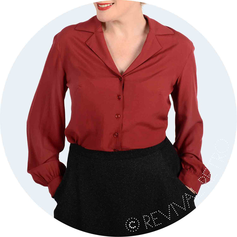 Long sleeve blouse for bigger boobs- Maroon rayon blouse with open revere collar