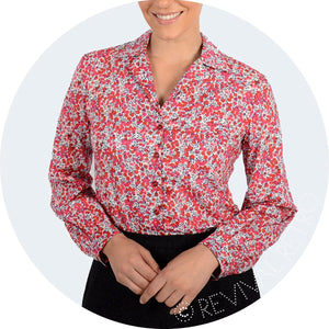 Long sleeve blouse in Red Berries Wiltshire Liberty Heritage Print