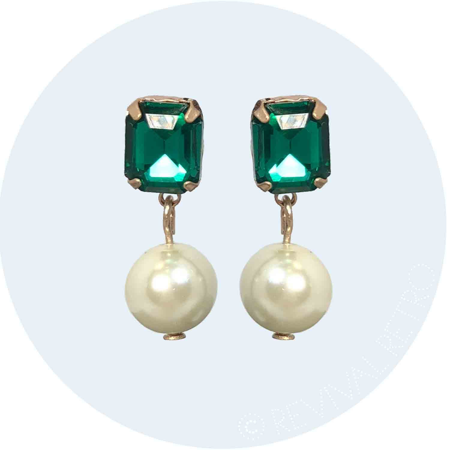 Regal Pearl Stone Earrings - Emerald