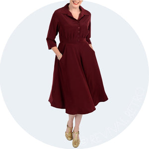 Shirt Waist dress with 3/4 length sleeves and a-line skirt