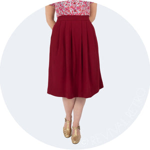 Vintage Style Flattering pleated skirt made in Britain
