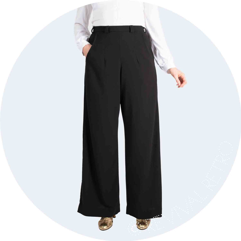 1940s high waist, wide leg trousers in black crepe