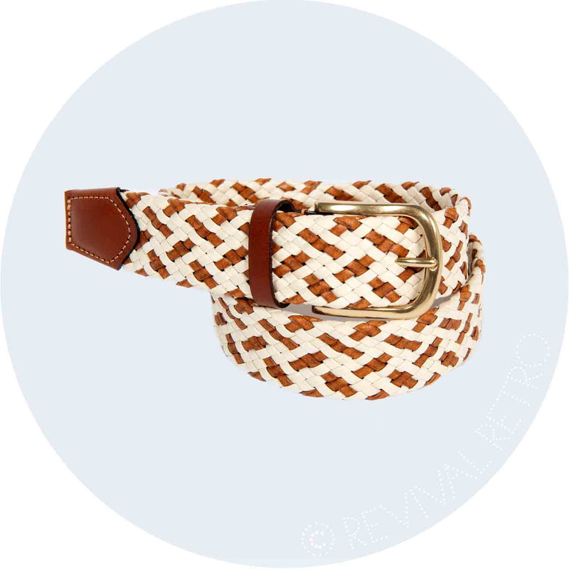 Woven Leather Belt | Tan & Cream