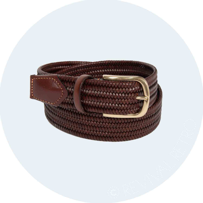 Woven Leather Belt | Mahogany