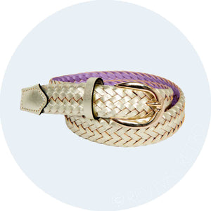 elegant woven leather belt with a rich metallic golden sheen