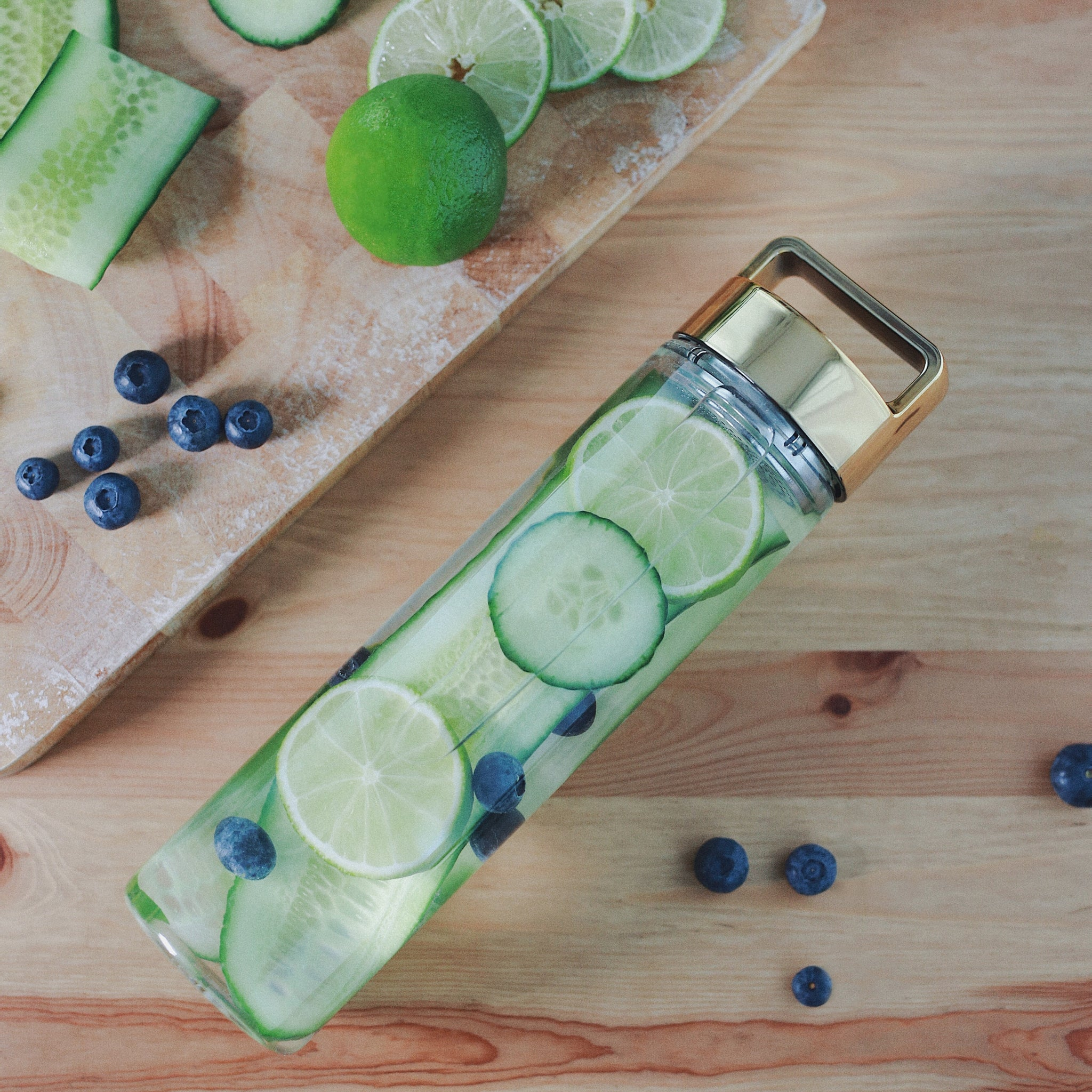 Cucumber, Blueberries & Lime Detox Water