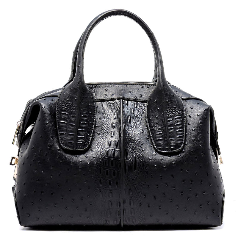 Ostrich Print Embossed 2 Way Satchel (Black)
