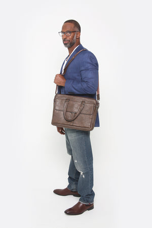 Mason Briefcase Man Bag (Coffee)