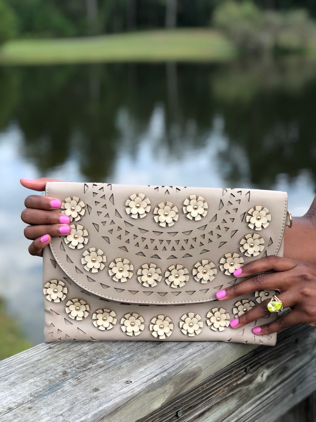 Flower Embellished Detail Clutch Khaki