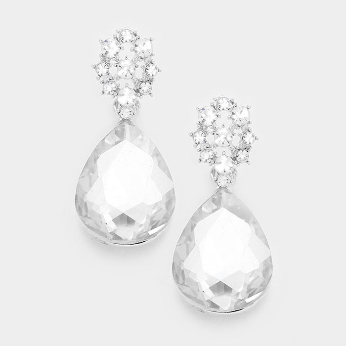 Glass Crystal Teardrop Silver Earrings