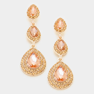 Glass Crystal Rosette Teardrop Evening Earrings Gold