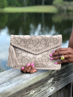 Tassel Flower Laser-cut Envelope Clutch Khaki