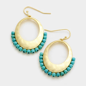 Hammered Hoop & Bead Turquoise Earrings