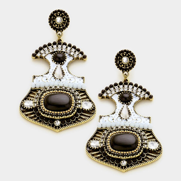 Pave Trim Statement Earrings Black