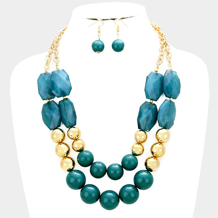 Doubled Layer Bead Necklace Set Teal