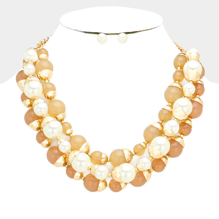Triple Strand Pearl Round Ball Bib (Cream-Neutral)