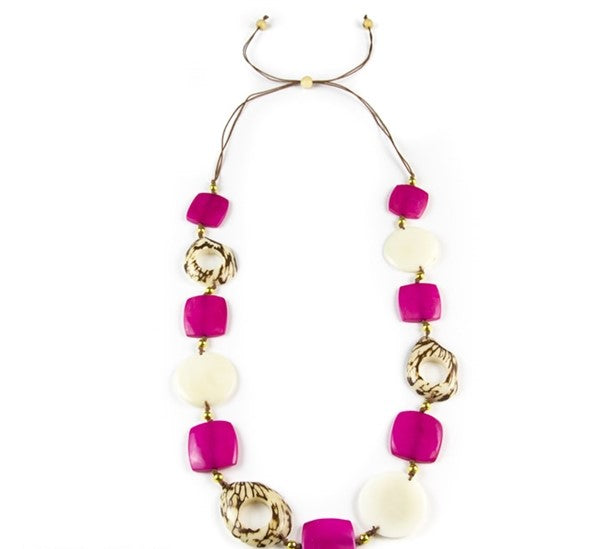 Los Andes Necklace Fuschia/Ivory
