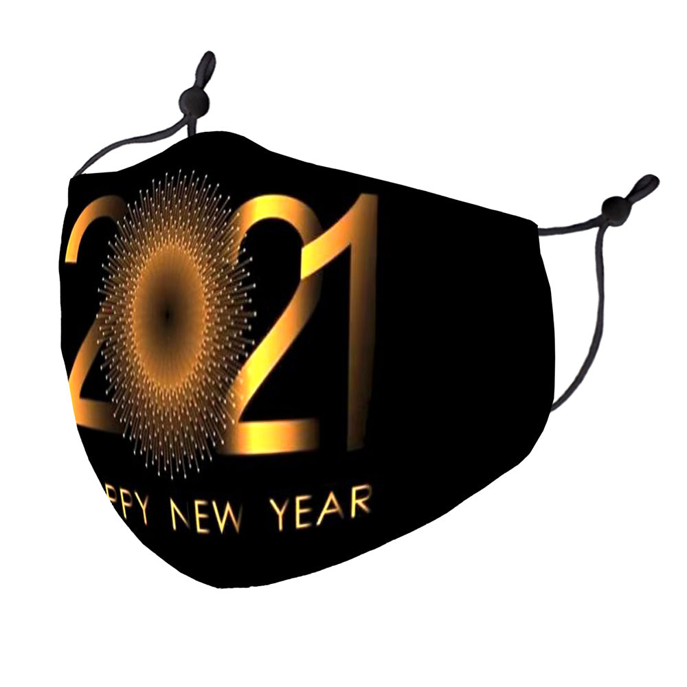 Happy New Year Mask (Black/Gold)