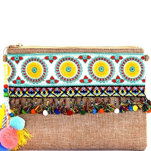 Bohemian Embroidery Linen Clutch